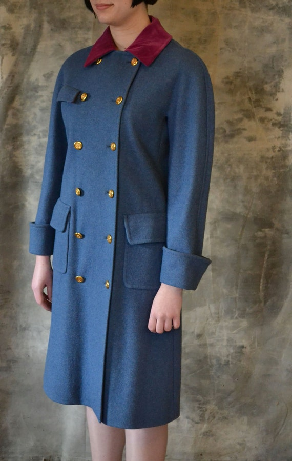 HOLD FOR BETH Chanel Coat - Le Petite Prince military coat, velvet collar, heather blue wool