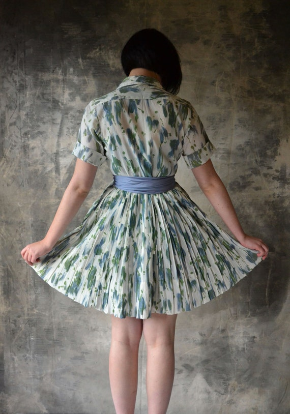 1950's Watercolor Shirt Dress with Pleated Skirt