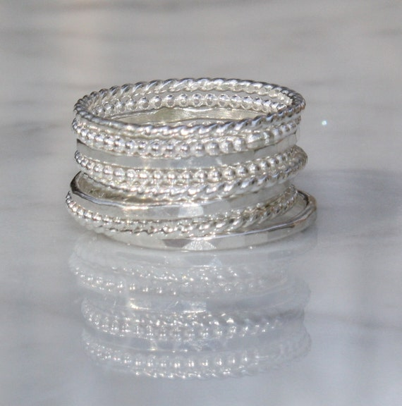 9 Skinny Argentium Sterling Silver Stacking Rings, Beaded, Twisted, Gently Hammered,  Custom made