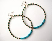 Genuine Turquoise Hoop Dangle Earrings with Green, Orange, Black & White Beads Tribal Inspired