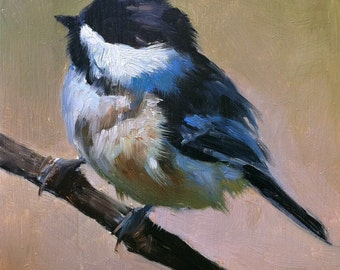 Baby Black-capped Chickadee - Bird Painting - Open Edition Print of Original Oil Painting