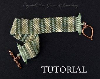 PDF beading tutorial pattern - Striped peyote bracelet