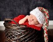 PDF Instant Download Easy Crochet  PATTERN No 240 Multicolor Christmas Elf Hat photo prop sizes preemie, newborn. 0-3, 3-6 months