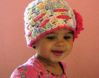 PDF Instant Download Easy Crochet PATTERN No 043 Scalloped  Beanie With The Rose all sizes baby toddler child adult