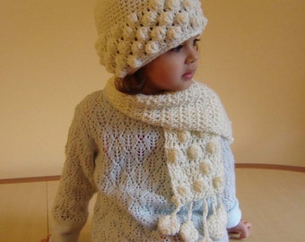 PDF Instant Download Crochet PATTERN No 093 White Scarf child and adult sizes