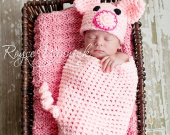 PDF Instant Download Easy Crochet PATTERN Piggy Cocoon and Beanie No 231 chunky yarn photo prop sizes preemie, newborn. 0-3, 3-6 months