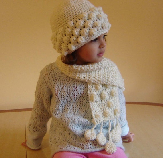 PDF Instant Download Crochet PATTERN No 093 White Scarf child