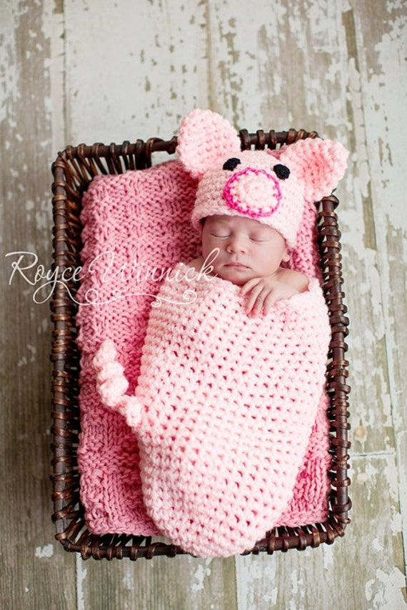 PDF Instant Download Easy Crochet PATTERN Piggy Cocoon and