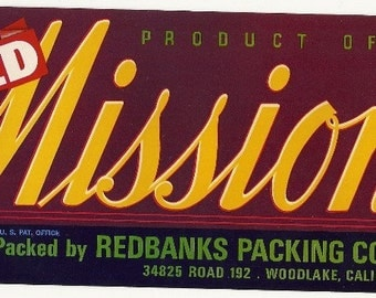 Old Mission Vintage Crate Label, 1960s