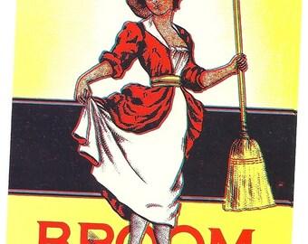 Prim and Proper Woman Vintage Broom Label, 1930's