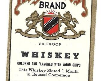 Royal Crest Whiskey Vintage Label, 1930's