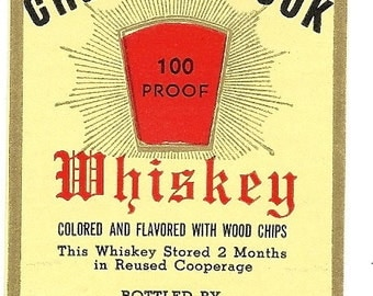 Chesterbrook 100 Proof Whiskey Vintage Label, 1930-40's