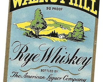 Walnut Hill Whiskey Vintage Label, half pint, 1930-40's