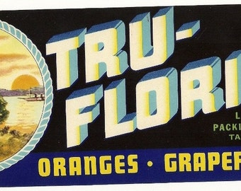Tru-Florida Citrus Vintage Crate Label, 1930's