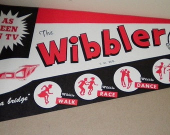 Jump, Dance, and Wibble Wibbler Toy Advertising Sign 1950's
