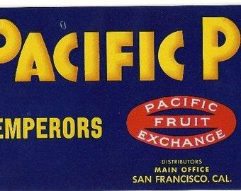 Pacific Pride Vintage Crate Label, 1940s