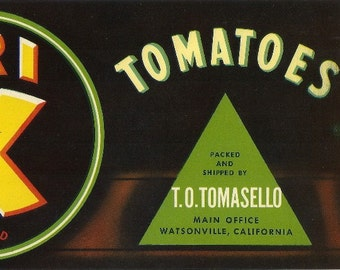 Tri X Brand Tomatoes Vintage Crate Label, 1940's