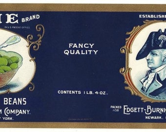 Wayne Brand Lima Bean Vintage Can Label, 1927