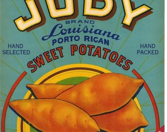 Judy Louisiana Porto Rican Sweet Potatoes Vintage Crate Label, 1930s