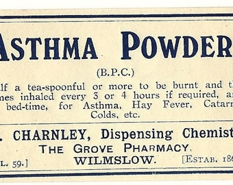 Asthma Powder Quack Medicine Label