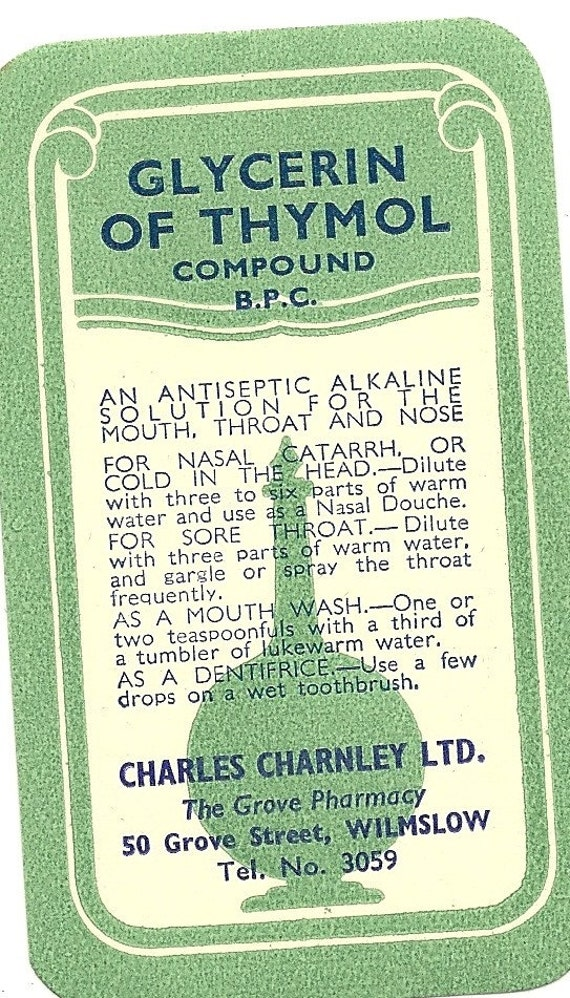 Glycerin of Thymol Compoun Vintage Quack Medicine Label, 1930s