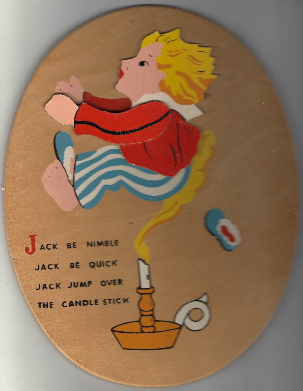 jack be nimble vintage wooden plaque 1980s. Black Bedroom Furniture Sets. Home Design Ideas