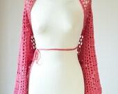 SUPER SALE Cotton wrap -Cape Shawl- Pink  Crochet-Hippie -Boho-Read to wear