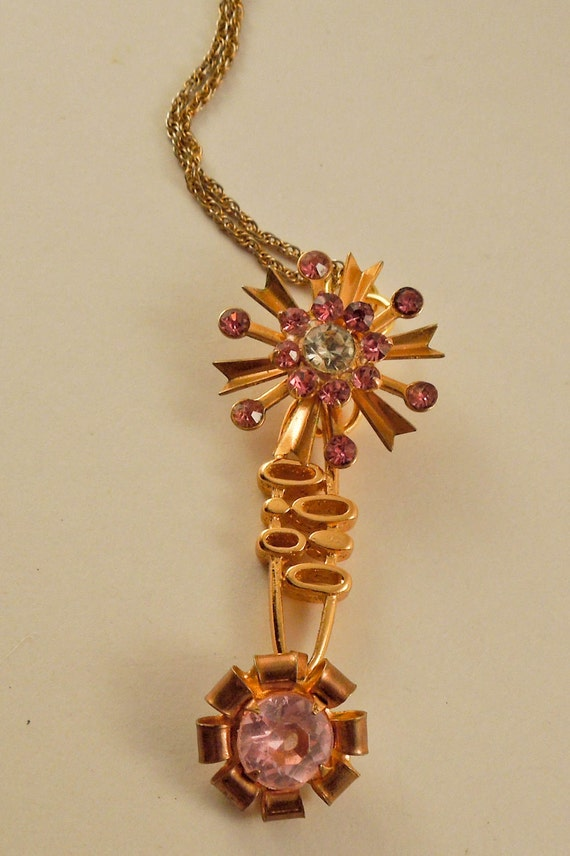 Pretty in Pink repurposed vintage jewelry pendant necklace one of a kind