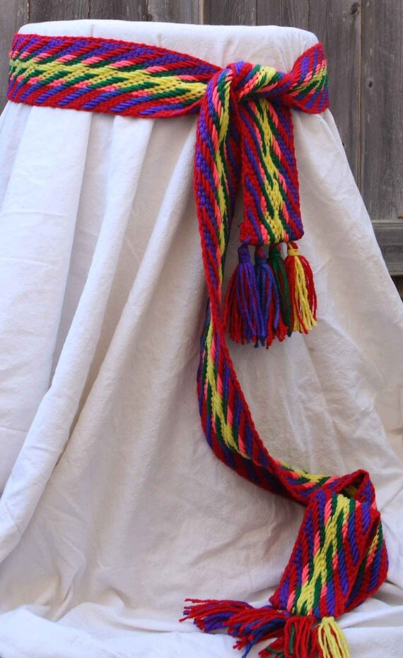 Belt, Rainbow Sash, Handwoven Cloth