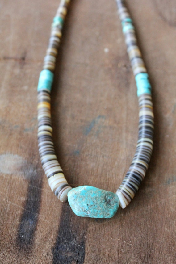 Handmade Heishi bead and Turquoise necklace by Mountain Man