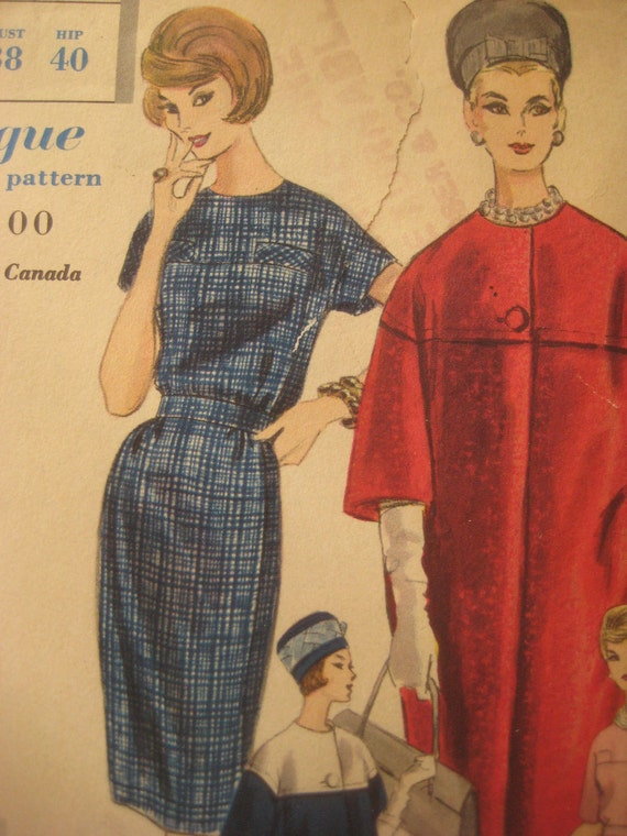 RESERVED Vintage Vogue Special Design 4189 Sewing Pattern, Vogue 4189, 1960s Dress Pattern, Sixties Coat Pattern, Bust 38 Inches, 60s Dress