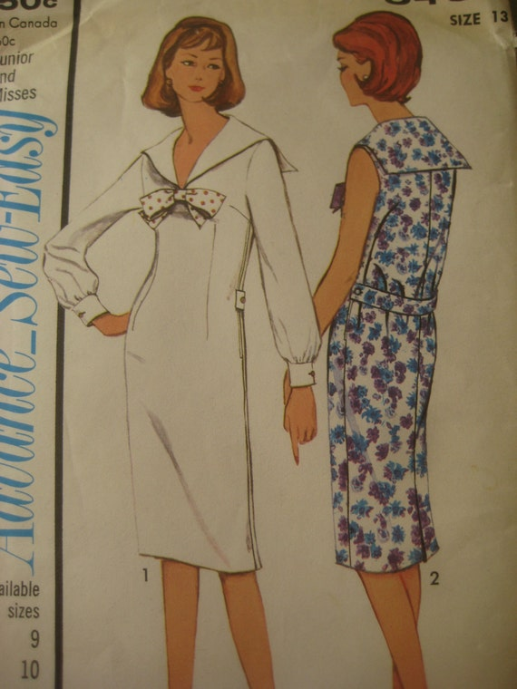 Vintage Advance 3430 Sewing Pattern, Sailor Collar Dress, 1960s Dress Pattern, Bust 33 Inches