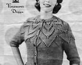 1960s Two-Skein Petal Cardigan -- PDF KNITTING PATTERN
