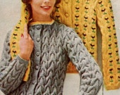 Women's 1960s Vintage Cabled Cardigan with Optional Embroidery Detail  -- PDF KNITTING PATTERN