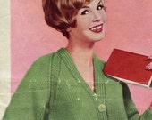 Women's 1960s Vintage V-Neck Raglan Chunky Cardigan -- PDF KNITTING PATTERN