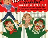 1950s Vintage Howdy Doody and Clarabelle Mittens --  PDF KNITTING PATTERN