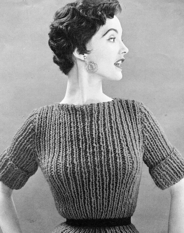 Vintage Knit Patterns : Items similar to Womens 1960s Chunky Vintage Top -- PDF KNITTING PATTERN...