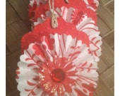 Paper Rosettes Handmade Gift Tags Set of 4 Regal Asian Red Spring Flowers All Occasion Wedding Shower Graduation