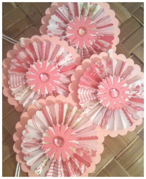Paper Rosettes Lacy Cotton Candy Raspberry Pink Scalloped Circle Handmade All Occasion Gift Tags Set of 4