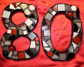 CUSTOM Made Mixed Media Mosaic House Numbers - Shades of Reds, Greys, Black & White  (These are color examples only)