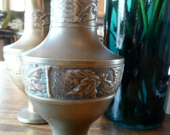 Two Heavy Solid Brass Vases 1950s or 60s