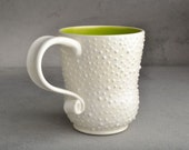 Curvy Dottie Mug : White With Neon Green Interior Dottie Mug by Symmetrical Pottery