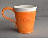 Mom Mug: Made To Order Orange and White Stamped Mom Mug by Symmetrical Pottery