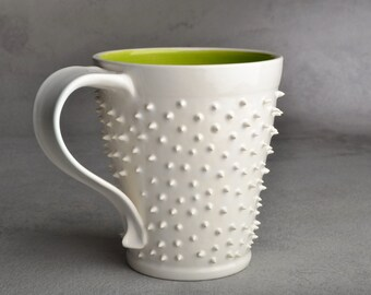 Spiky Mug Made To Order White and Green Dangerously Spiky Mug by Symmetrical Pottery