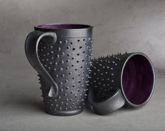 Spiky Mugs Made To Order Pair of Black and Purple Dangerously Spiky Travel Mugs by Symmetrical Pottery