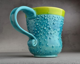 Curvy Dottie Mug Made To Order Caribbean Blue Neon Green Curvy Dottie Mug