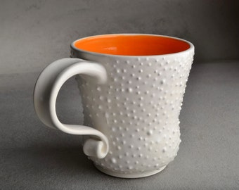 Dottie Mugs Made To Order Set Of 4 White Orange Coffee Cocoa Mug Cup by Symmetrical Pottery
