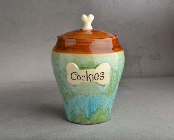 "Dog Treat Jar Ready To Ship ""Cookies"" Patina and Brown Dog Treat Jar by Symmetrical Pottery"