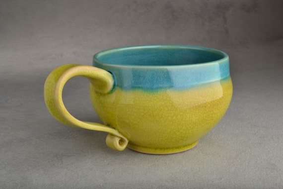 Cup Mug Ready To Ship Chartreuse Crackle & Blue Stoneware Coffee Tea Soup Mug by Symmetrical Pottery