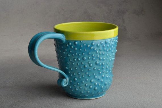 Curvy Dottie Mug: Blue and Chartreuse Stoneware Dottie Mug by Symmetrical Pottery